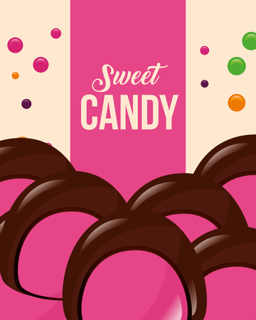 sweet candy chips macarons chocolate strawberry vector illustration Illustration