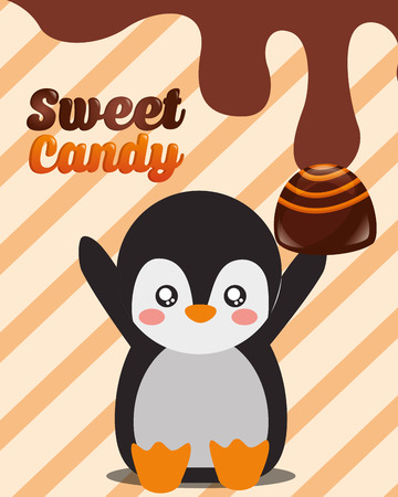 sweet candy penguin macaron chocolate vector illustration 向量圖像