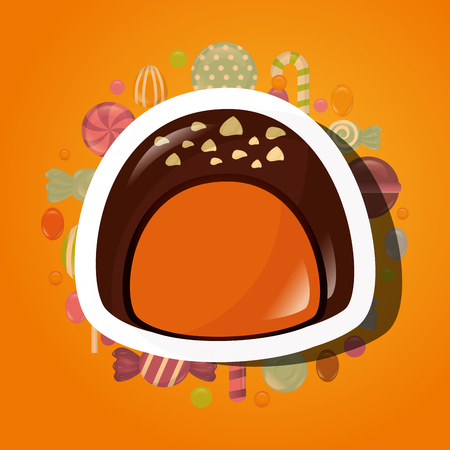 sweet candy chocolate macaron caramels background vector illustration
