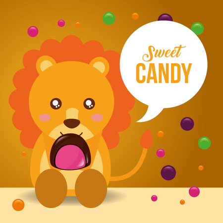 sweet candy cute smiling lion holding macaron chocolate chips vector illustration Illustration