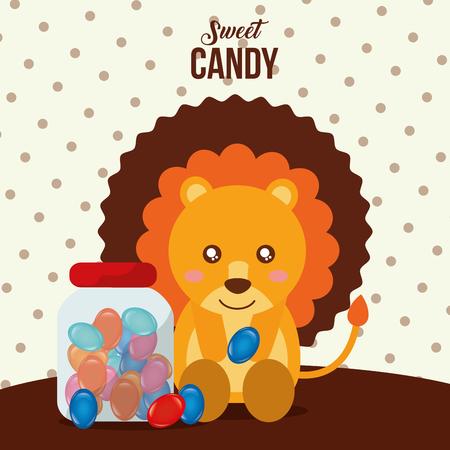 sweet candy lion holding almond jar caramels vector illustration