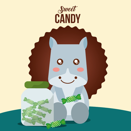 sweet candy cow jar green caramels sticker sign vector illustration