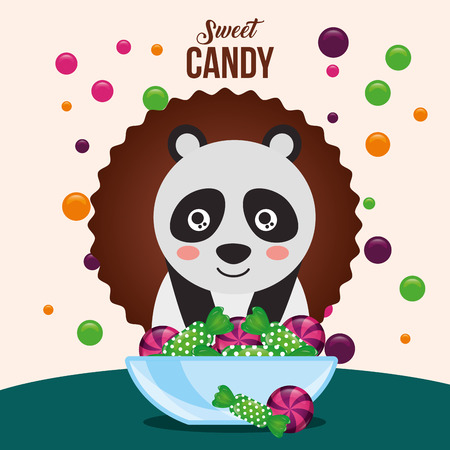 sweet candy sticker panda smiling plate green balls caramels vector illustration Illustration