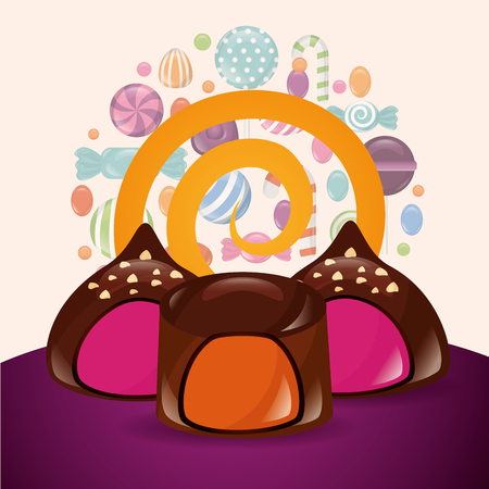 sweet candy circle macaron stuffed flavors caramels background vector illustration 일러스트