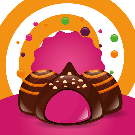 sweet candy macarons stuffed chocolates chips vector illustration
