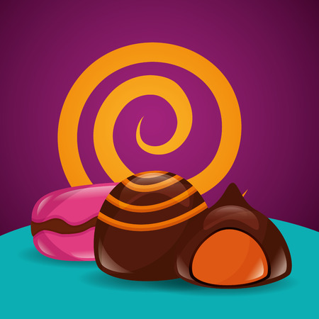sweet candy macarons stuffed chocolate vector illustration