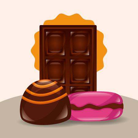 sweet candy chocolate bar stuffed caramel vector illustration Ilustrace
