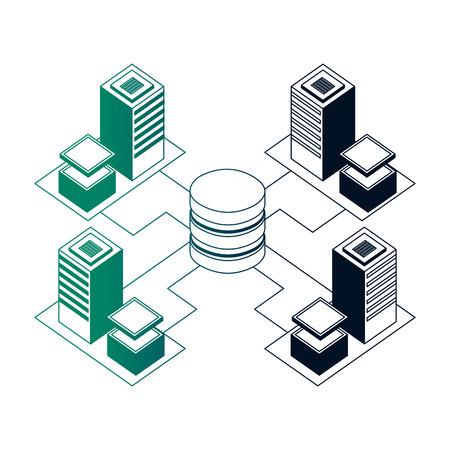 database center connected server storage network vector illustration neon Illustration