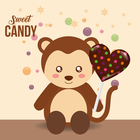 sweet candy cute monkey holding heart chocolate lollipop vector illustration Stock Vector - 107648051