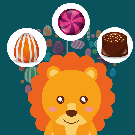 sweet candy lion smiling sticker caramels macaron chocolate chips vector illustration
