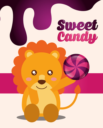 sweet candy lion holding ball caramel sign vector illustration