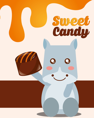 sweet candy cow holding macaron chip vector illustration Çizim