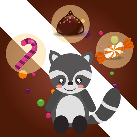 sweet candy raccoon sticker caramel macaron chips vector illustration