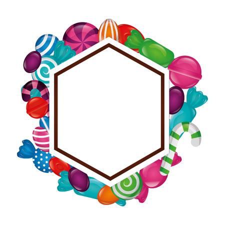 Cadre avec des bonbons sucrés icône isolé vector illustration design