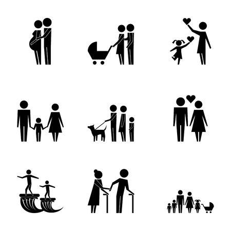 famille protection pictogramme parents grands-parents enfants Vecteurs