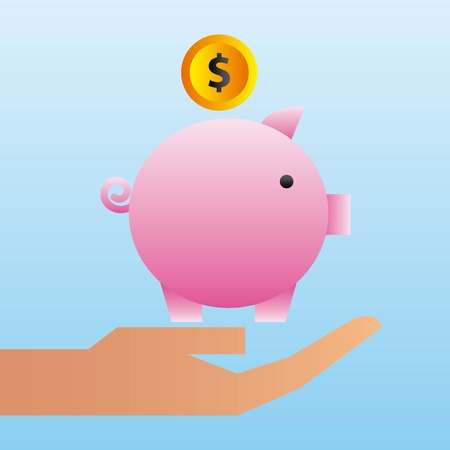 hand holding piggy bank coin family protection Illustration