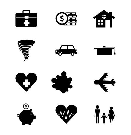 family protection insurance house car health education Standard-Bild - 110336666