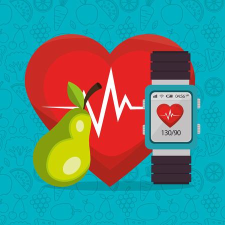 Smartwatch mit gesundem Lebensstil Icons Vector Illustration Design Vektorgrafik