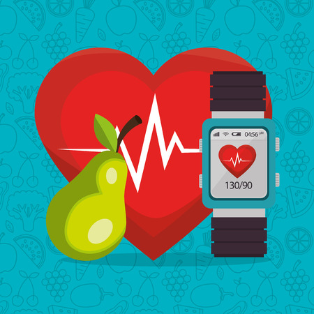 smartwatch with healthy lifestyle icons vector illustration design Vektorové ilustrace