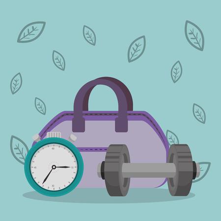 healthy lifestyle fitness equipment vector illustration design