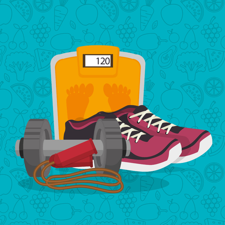 healthy lifestyle fitness equipment vector illustration design