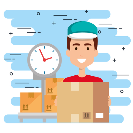 delivery worker with balance character vector illustration design Foto de archivo - 110336722