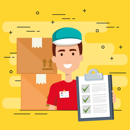 delivery worker with checklist character vector illustration design Foto de archivo - 110336723