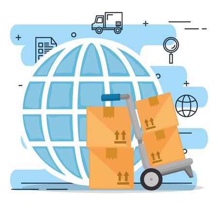cart delivery service with set icons vector illustration design Ilustración de vector