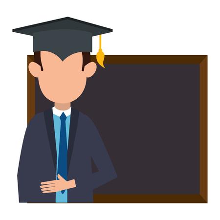 student graduated with chalkboard vector illustration design