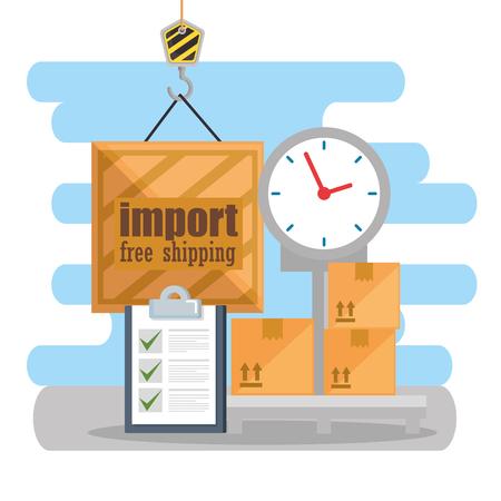 Equilibrio de escala servicio logístico, diseño de ilustraciones vectoriales