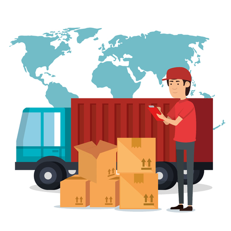 delivery worker with boxes character vector illustration design