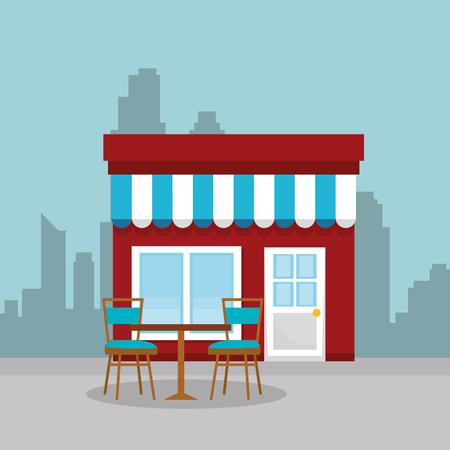 store building facade scene vector illustration design