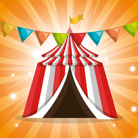 tent circus entertainment icon vector illustration design