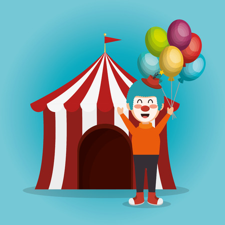 tent circus with clown vector illustration design