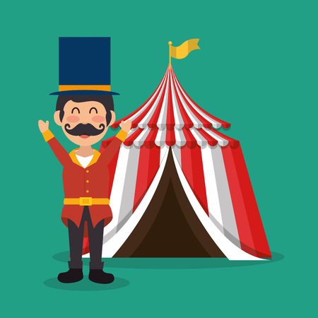 circus presenter with tent vector illustration design