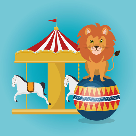 circus crousel with lion vector illustration design
