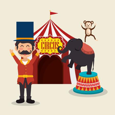 Les singes et les éléphants de cirque montrent la conception d'illustration vectorielle Vecteurs