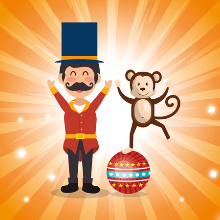 circus presenter with monkey vector illustration design