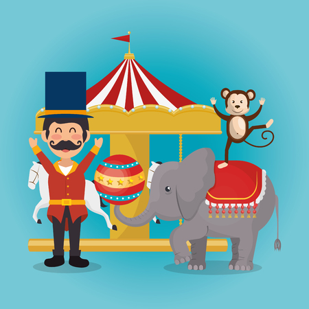 monkeys and elephant circus show vector illustration design