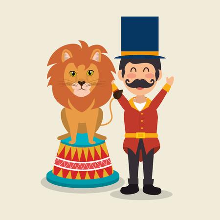 Presentador de circo con león, diseño de ilustraciones vectoriales