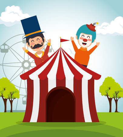 tent circus with clown and presenter vector illustration design