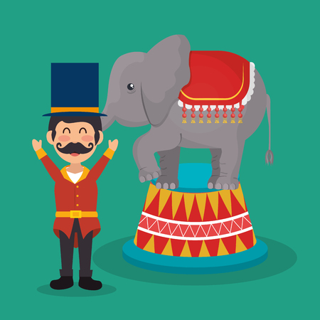 circus presenter with elephant vector illustration design