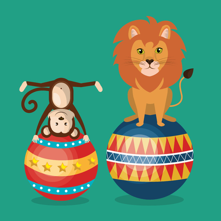 Les singes et le cirque de lion montrent la conception d'illustration vectorielle Vecteurs