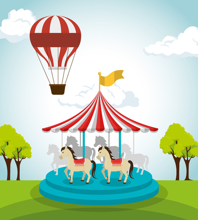 circus crousel entertainment icon vector illustration design
