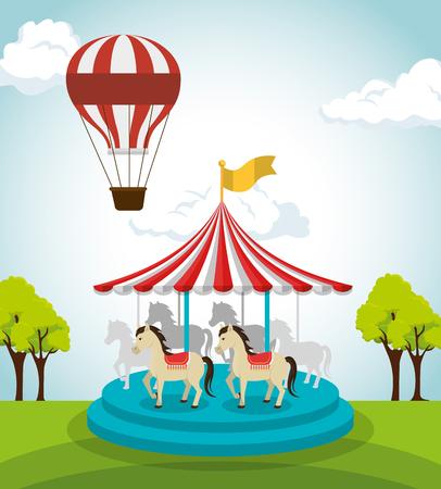 Zirkus Crousel Unterhaltungsikone Vektor-Illustration Design Vektorgrafik