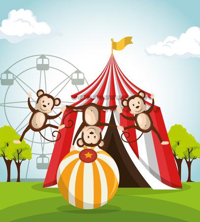 monkeys circus show icons vector illustration design