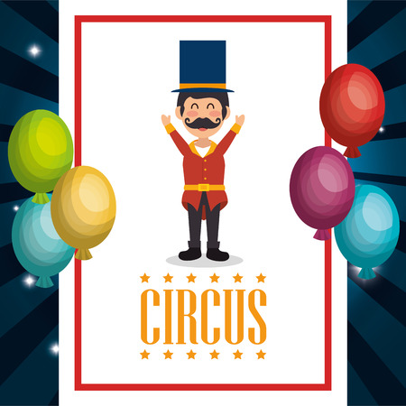 circus presenter with balloons air vector illustration design Illustration