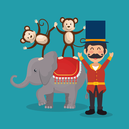 monkeys and elephant circus show vector illustration design Stock Vector - 110336919