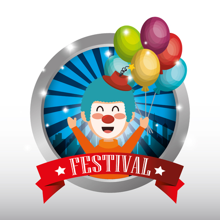 clown with balloons air circus show vector illustration design Illustration
