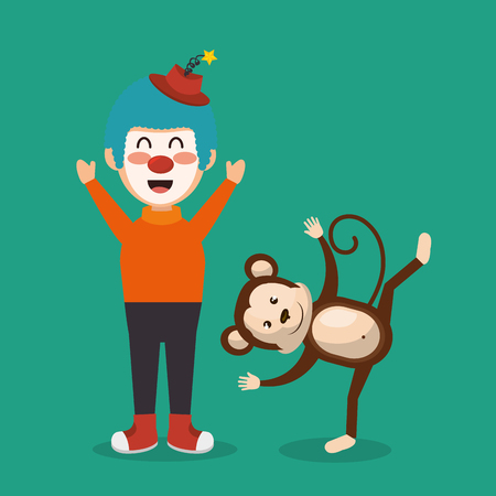 monkey and clown circus show vector illustration design